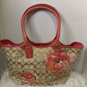 Vintage Coach Purse with Pink Flowers